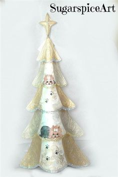 Yorkie Hand Painted Christmas Tree Table Decoration dog art by SugarspiceArt