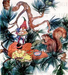 Elf GNOME Eats Fairy Bread With Squirrel  by DandDDigitalDelights