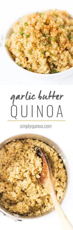 This FLUFFY garlic butter quinoa recipe is one of the easiest recipes you'll ever make! It uses just 5 ingredients, one pan and goes with everything!