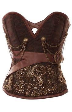 Brocade Overbust Corset : - The brown corset because of its neutral colour can compliment any colour.  Wear it over a skirt or jeans/ trousers...you can't go wrong at all! The intricate and detailed work on body is sure to make heads turn. Automatically a touch of royalty is added with the brown and gold combination. Don't miss the stylish yet sophisticated buckles with straps on the side of the waist. This will draw further attention to the slim waist achieved by wearing this garment.