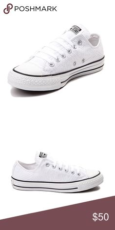 White quilted low converse sneakers NWT