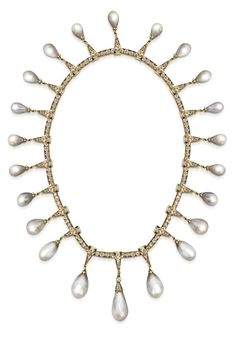 35abe92c0210 An Antique Natural Pearl and Diamond Necklace in Yellow Gold - Sold