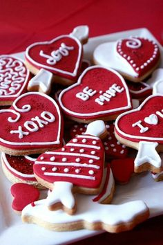 Red heart shaped Valentine's Day cookies