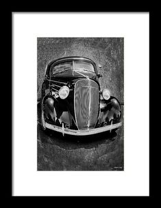 Vintage car art with black vehicle, gray textured background. This image also available  in various color combinations to match your decor.  Staging,interior,car,collector, black and white, photo art,interior,design,decorating,home decor,accessories,wall art, art for sale,Lesa Fine,photography