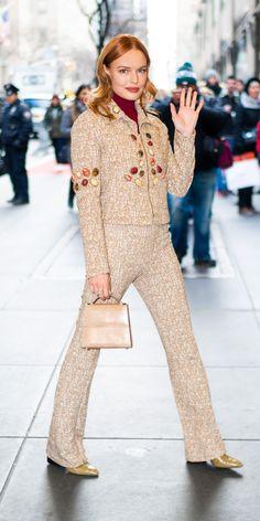 InStyle's Look of the Day picks for December 2018 include Jennifer Aniston, Ariana Grande and Kourtney Kardashian. Kate Bosworth Style, Beige Boots, Tan Handbags, Kourtney Kardashian, Red Carpet Fashion, Star Fashion, Style Me, Celebrity Style, Turtle Neck