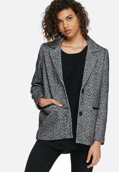 Warm up the coldest of days with this classic, tweed-inspired coat. Features include a fully-lined inner with two side pockets and a double button-up at the front. Throw it over a black tee with skinny denims and lace-up boots for urban-chic style.