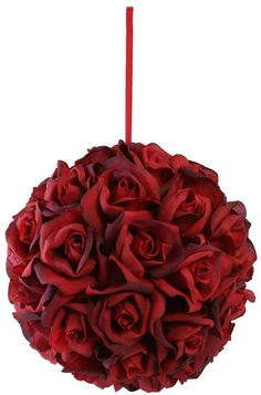 Garden Rose Kissing Ball - Red - 10 Inch Pomander Extra Large