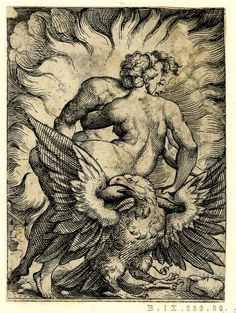 The Loves of Jupiter; print; Michiel Coxie I (After); Marcantonio (After); Virgil Solis (Print made by); 1530-1562 /.Jupiter and Semele enveloped by flames; Semele seen from behind; the eagle in front of them; from a series of seven engravings of the Loves of Jupiter. Etching and engraving