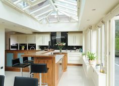 Orangery kitchen extensions designed, manufactured and installed by David Salisbury. These kitchen extensions can be designed to suit any style of property. Timber Kitchen, Wooden Kitchen, New Kitchen, Kitchen Dining, Kitchen Ideas, Kitchen Designs, Dining Rooms, Dining Area, Dining Chairs