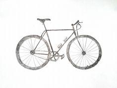 BICYCLE Bicycling Road Street Bike Modern Original Graphite Sketched ART By SDV #Realism