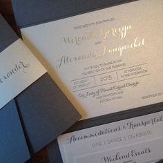 We love this custom charcoal grey letterpress and silver foil wedding invitation from Alice Louise Press, capped off on the exterior with a classy silver foil belly band.  Exquisite! Customize yours with Paper Passionista.