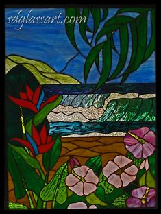 Stained Glass Craftsmen: Stained Glass Tropical Ocean Scene