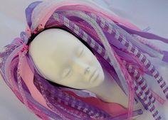 Full Length Cotton Candy Pastel Pink and Purple Cyberlox Cybergoth Cyberpunk Dread Falls Squid Costume, Burning Man 2016, Dread Falls, Rave Accessories, Pastel Purple, Cybergoth, Dreads, Cotton Candy, Color Schemes