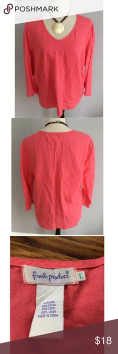 Fresh Produce Pink Linen 3/4 Sleeve Blouse Large Size large. Gently used with no flaws. Fresh Produce Tops Blouses