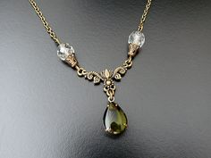 Gothic Necklace Emerald Green Glass Bride Bridesmaid by skaior, $21.00