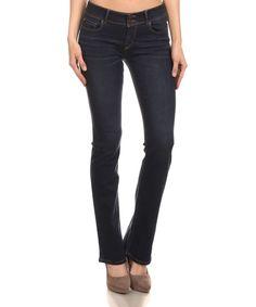 Dark Double-Button Bootcut Jeans