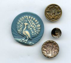 SOLD: Peacock buttons antique and vintage buttons