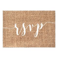 Simple White And Burlap Wedding RSVP Cards