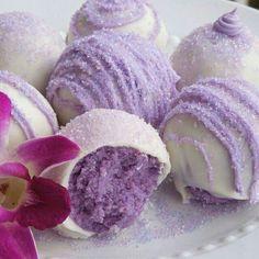 Lavender cake balls. Recipe:  http://www.homewiththehoovers.com/2012/08/lavender-love.html?m=1
