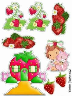 Birthday Cake Toppers, Cupcake Toppers, Strawberry Shortcake Party, All Fruits, Aesthetic Stickers, Cartoon Kids, Digital Stamps, Clipart, Mini Albums