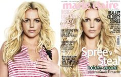 Retouching before and after on Britney Spears.