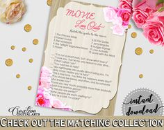 Movie Love Quote Game in Roses On Wood Bridal Shower Pink And Beige Theme, trivia game, wood and roses, party plan, party planning - B9MAI #bridalshower #bride-to-be #bridetobe