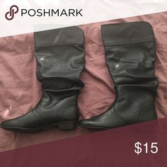 Slouch Boots Black slouchy faux leather boots. Never worn size 6. Feel free to make me an offer! ❤️ Shoes Ankle Boots & Booties
