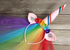 A personal favorite from my Etsy shop https://www.etsy.com/listing/266453382/unicorn-rainbow-crown-headband-w-tulle