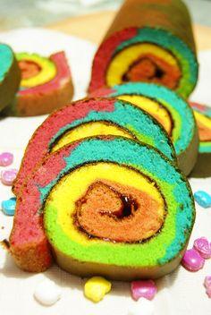 Rainbow Roll Cake. *