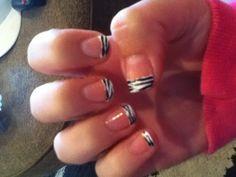 Zebra French tip nails