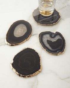 Shop Black Agate Coasters, Set from AERIN at Neiman Marcus Last Call, where you'll save as much as on designer fashions. Home Decor Accessories, Decorative Accessories, Muebles Home, Deco Nature, Agate Coasters, Black Coasters, Stone Coasters, Drink Coasters, Decoration Design