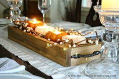 easy wooden box centerpiece with mini pumpkin candles - fall decorations