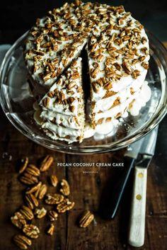 Pecan coconut cream cake