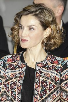 Letizia's jacket was certainly a talking point with embroidery, beading and gold coins all.
