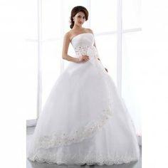 $38.83 Sweet Strapless Bowknot Jacquard Embellished Multi-Layered Wedding Dress For Women