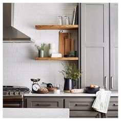 From gadgets to decor, your open shelves will be stocked and stylish. Acacia cutting boards, stoneware vessels, metal measuring cups and glass tumblers not only help you conquer the kitchen, but also fit seamlessly into your current cook look.