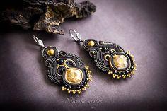 Soutache black earrings, elegant earrings, Drop earrings, gift for her, soutache jewelry Soutache Earrings, Crystal Earrings, Beaded Earrings, Crystal Beads, Earrings Handmade, Handmade Jewelry, Small Earrings, Black Earrings, Stud Earrings