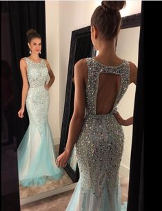 Unique round neck backless sequin rhinestone mermaid long prom dress for teens, evening dress