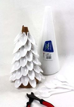 christmas trees made from styrofoam cones and plastic spoons