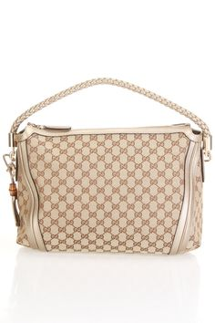 Gucci Monogram Braided Shoulder Bag In Beige