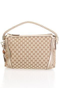 Gucci Monogram Braided Shoulder Bag In Beige