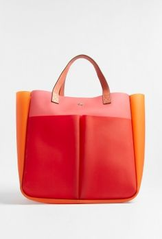 Bags don't always have to be practical brown or black - be brave and try a bright colour-block number.