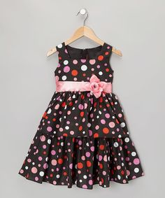 Take a look at this Black & Pink Polka Dot Dress - Infant, Toddler & Girls on zulily today!