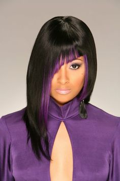 Color Purple...lamonique (Hair Stylist) Relaxed Hair, Great Hair, Dyed Hair, Black Power, Funky Hairstyles, Pretty Hairstyles, Purple Hair, Purple Tips, Natural Hair Styles