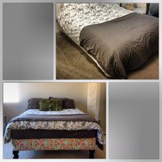 """Bed transformation: cost $30.  Before: mattress and box spring sat on floor.  After: choose your favorite fabric. Staple on edges on box spring. Spray paint """"porch pole toppers"""". Then screw to each corner on the box spring. Simple project to spice up your ole' bedroom."""