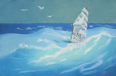 Clipper Ship seascape marine sail boat 24x36 oils on by rustyart