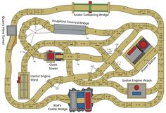 Lots of different layouts for Thomas train tracks. For @Alexis Phillips and @Angela Johnson or, Miles and Zach.