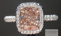 Pink diamond ring Cushion Cut 1.22