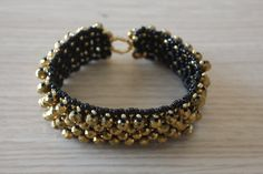 Gold crystal bracelet wrist band by GregzCollection on Etsy