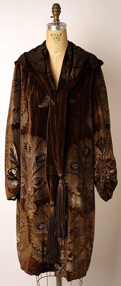 "Stenciled brown silk velvet evening coat by Maria Gallenga, Italian, 1920's. Label: ""Maria Monaci Gallenga"""
